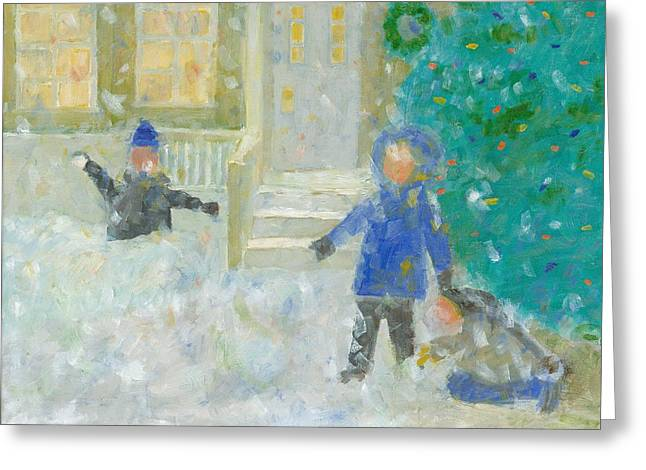 The Snowball Fight Greeting Card by David Dossett