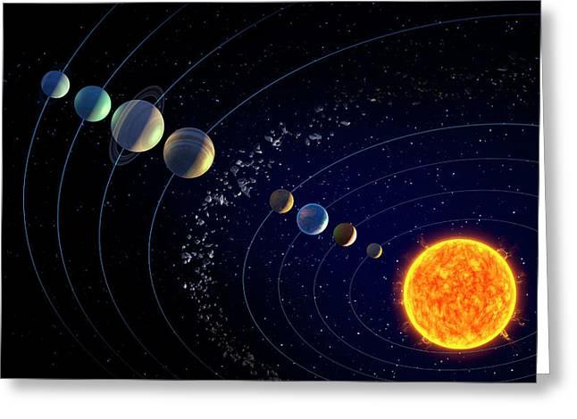 The Solar System Greeting Card by Andrzej Wojcicki