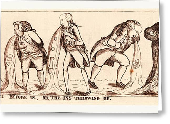 The Sour Prospect Before Us, Or The Ins Throwing Up State Greeting Card by English School