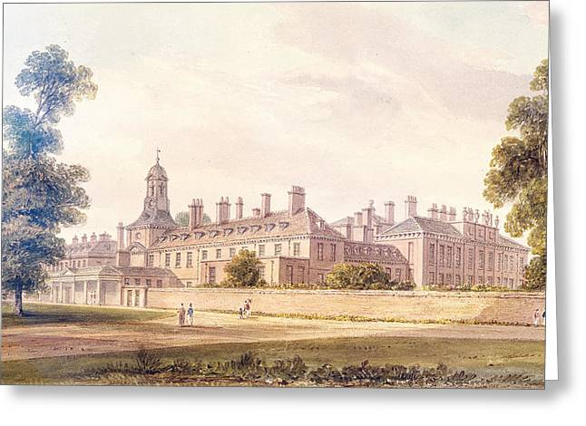 The South-west View Of Kensington Palace, 1826 Wc On Paper Greeting Card by John Buckler