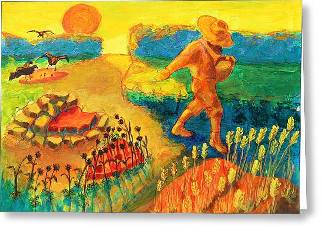 The Sower Painting By Bertram Poole Greeting Card