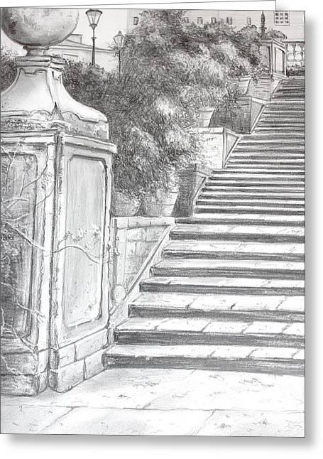 The Spanish Steps Greeting Card by Kathy  Karas