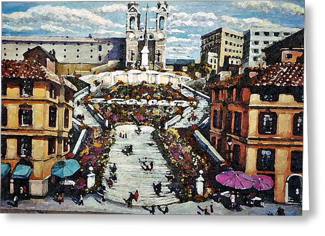 The Spanish Steps Greeting Card by Rita Brown