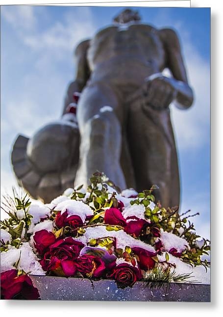 The Spartan With Roses 2 Greeting Card