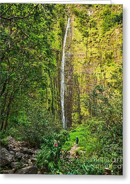The Spectacular And Large Waimoku Falls In Maui. Greeting Card by Jamie Pham