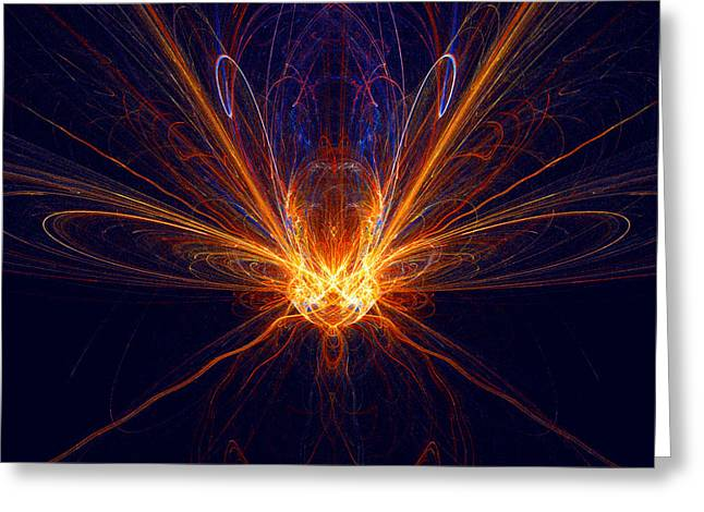Greeting Card featuring the digital art The Spectacular Digital Firefly by R Thomas Brass
