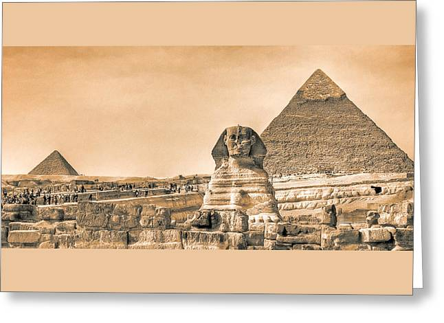 The Sphinx And Pyramids - Vintage Egypt Greeting Card by Mark E Tisdale