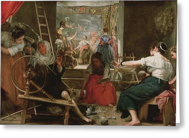 The Spinners, Or The Fable Of Arachne, 1657 Oil On Canvas See 91618 For Fully Restored Version Greeting Card by Diego Rodriguez de Silva y Velazquez