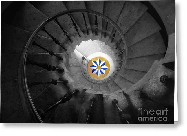 The Spiral Staircase Of Villa Vizcaya Bwcolor Greeting Card by Mike Nellums