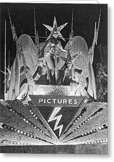 The Spirit Of Hollywood Float Greeting Card by Underwood Archives