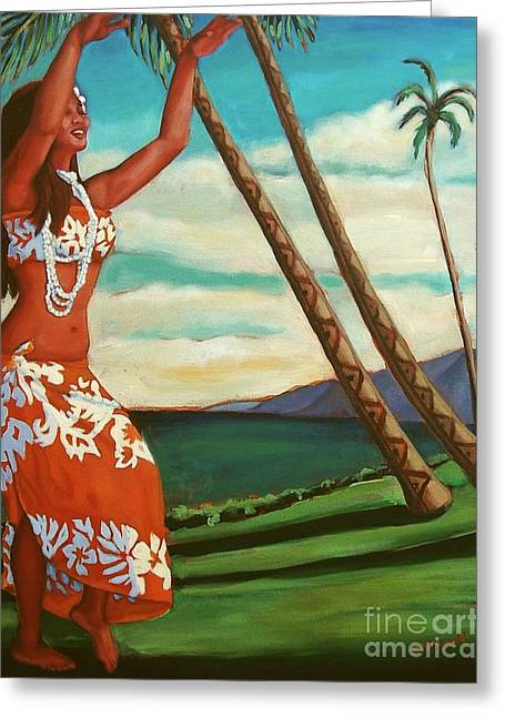 Greeting Card featuring the painting The Spirit Of Hula by Janet McDonald
