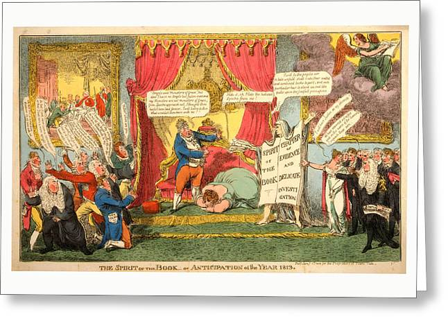The Spirit Of The Book -or Anticipation Of The Year 1813 Greeting Card