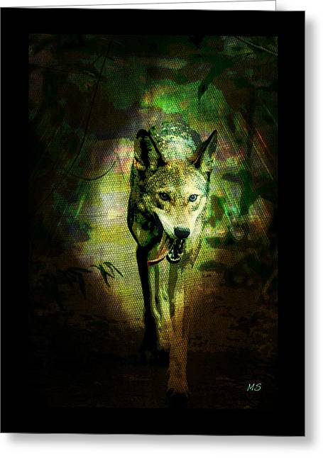 Greeting Card featuring the digital art The Spirit Of The Wolf by Absinthe Art By Michelle LeAnn Scott