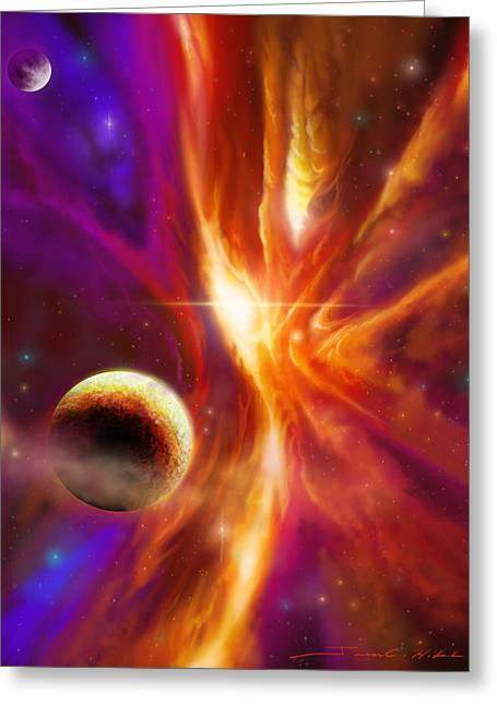 The Spirit Realm Of The Saphire Nebula Greeting Card by James Christopher Hill