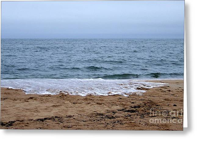 The Splash Over On A Sandy Beach Greeting Card by Eunice Miller