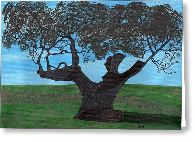 The Split Tree - Bradgate Park Greeting Card by Bav Patel
