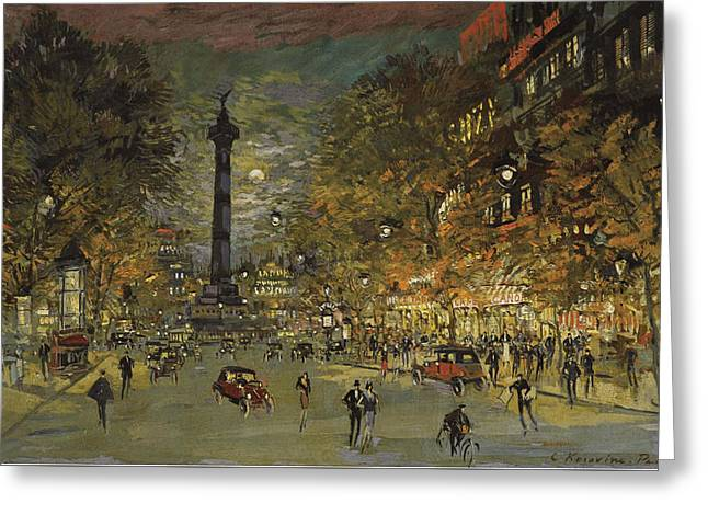 The Square Of Bastille. Paris Greeting Card by Konstantin Korovin