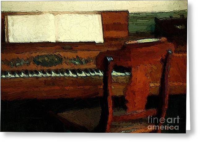 The Square Piano Greeting Card by RC DeWinter