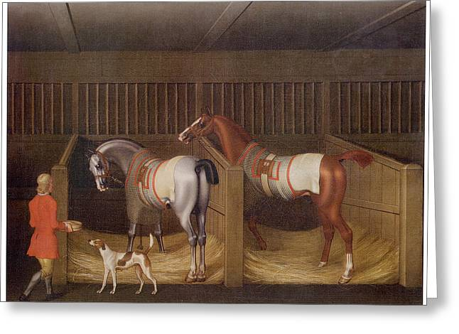 The Stables And Two Famous Running Horses Greeting Card by James Seymour