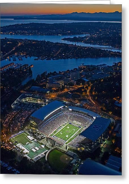 Husky Stadium At Dusk Greeting Card