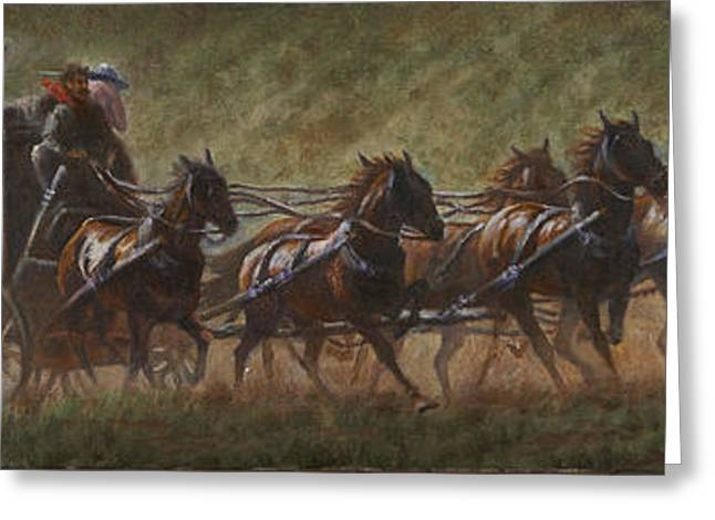 The Stage Coach Greeting Card by Gregory Perillo