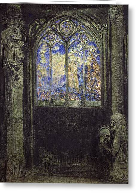 The Stained Glass Window, 1904 Charcoal & Pastel On Card Greeting Card by Odilon Redon