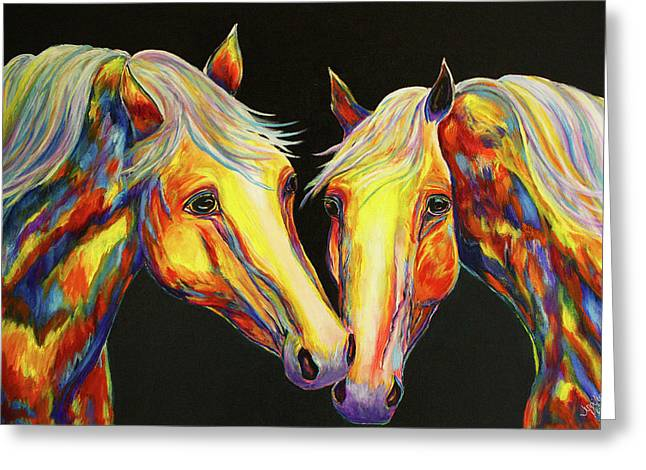 The Stallion Kiss Paint Horses Greeting Card