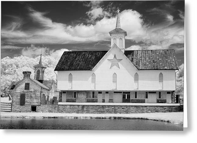 The Star Barn - Infrared Greeting Card by Paul W Faust -  Impressions of Light