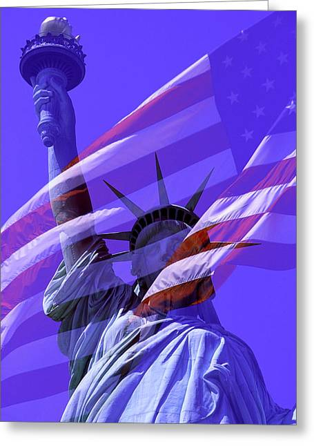 The Statue Of Liberty Draped With The Flag Of The United States Greeting Card