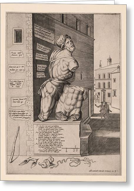 The Statue Pasquino, Standing On A Pedestal In The Piazza Greeting Card