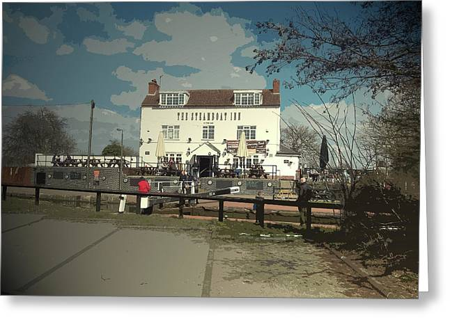 The Steamboat Inn And Canal Lock, Onlookers By The Towpath Greeting Card