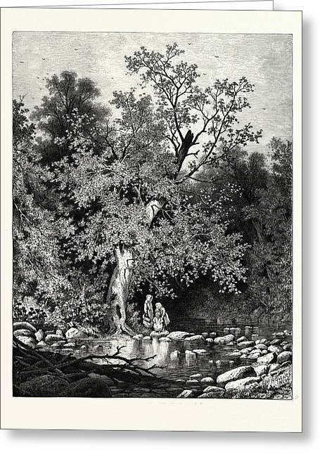 The Stepping-stones Greeting Card by Bunner, Andrew Fisher (1841-1897), American