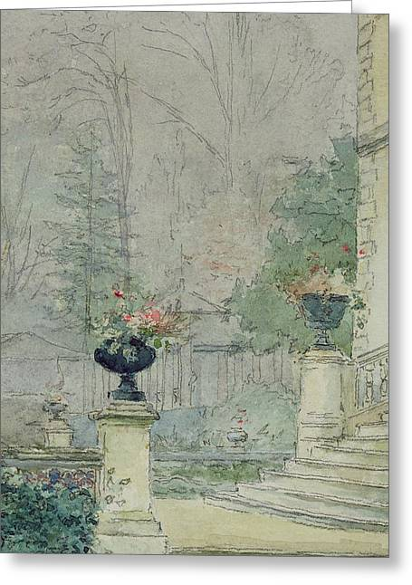 The Steps Of Les Fourneaux At Melun Greeting Card