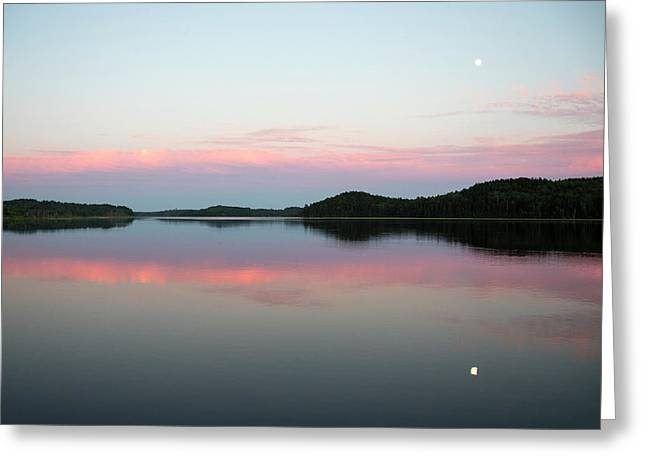 The Still Water Mimics The Skys Painted Greeting Card by Robbie George