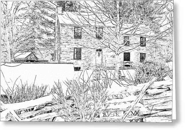 Stone House At The Oliver Miller Homestead In Winter - 2 Greeting Card