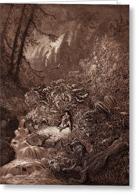 The Storm In The Forest, By Gustave Dore Greeting Card