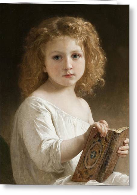 The Story Book Greeting Card by William Adolphe Bouguereau