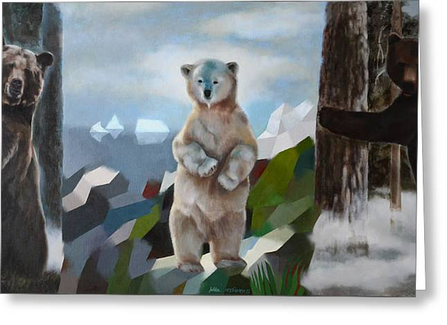 The Story Of The White Bear Greeting Card by Jukka Nopsanen