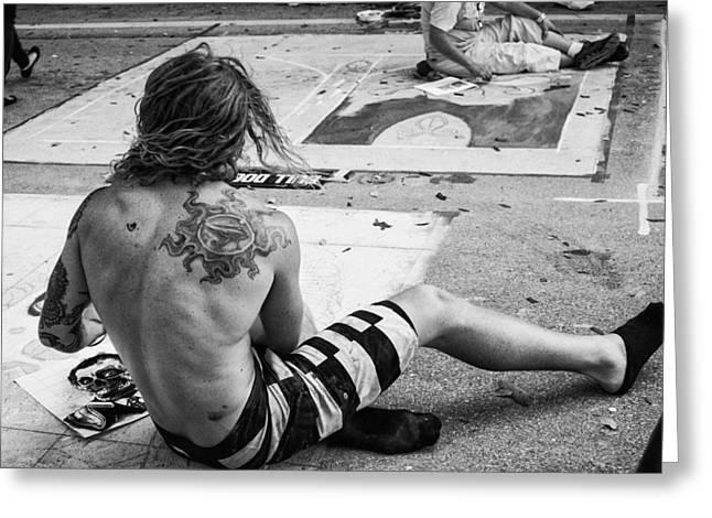 The Street Painter Greeting Card by Armando Perez