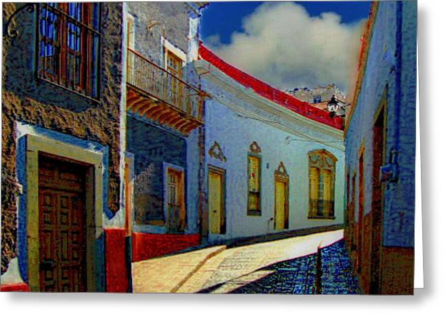 The Street To Diego Rivera's Parents House Greeting Card by John  Kolenberg