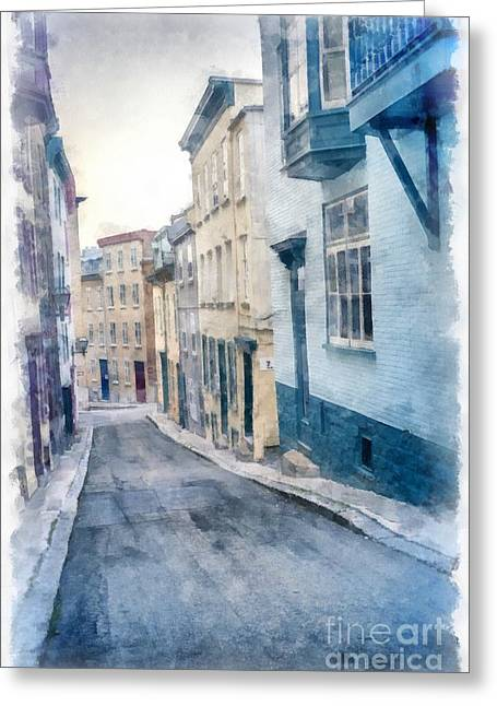 The Streets Of Old Quebec City Greeting Card by Edward Fielding