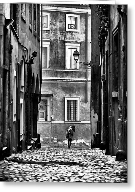 The Streets Of Roma Greeting Card by John Rizzuto
