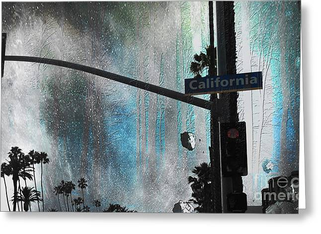 The Streets Of Santa Monica Califorina Greeting Card by Christine Mayfield