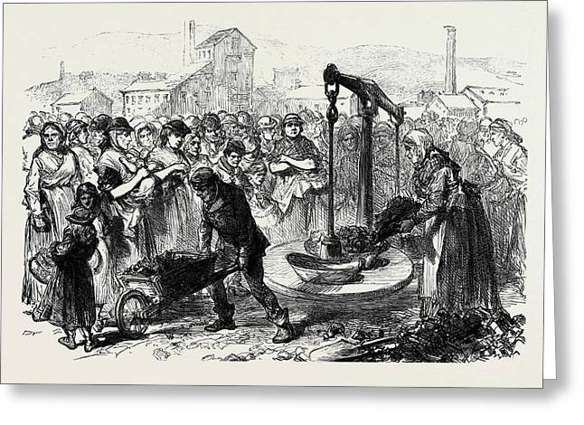 The Strike In South Wales Coal Famine At Merthyr A Pennorth Greeting Card