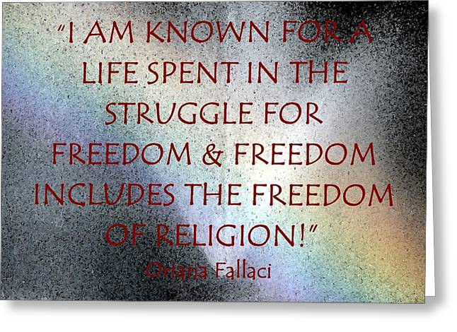 The Struggle For Freedom Greeting Card by Thia Stover