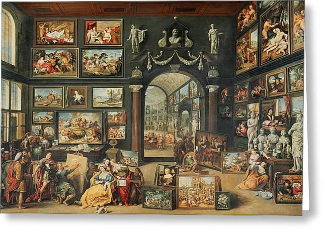 The Studio Of Apelles Oil On Panel Greeting Card by Willem van II Haecht