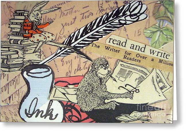 The Studious Rabbit And The Monkey Greeting Card