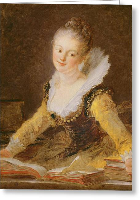 The Study, Or The Song Greeting Card by Jean-Honore Fragonard