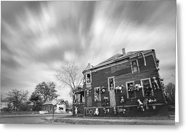 The Stuffed Animal Doll House At The Heidelberg Project - Detroit Michigan - Bw Greeting Card