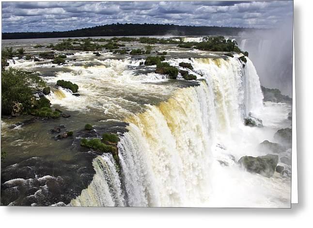 The Stunning Falls Of Iguacu Brazil Side Greeting Card